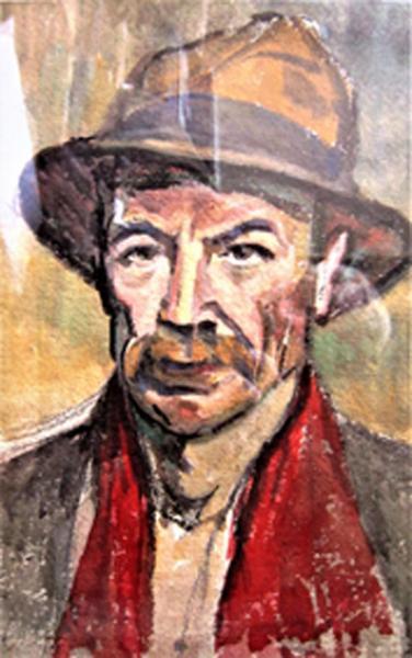939 - Autoportrait à l'écharpe rouge