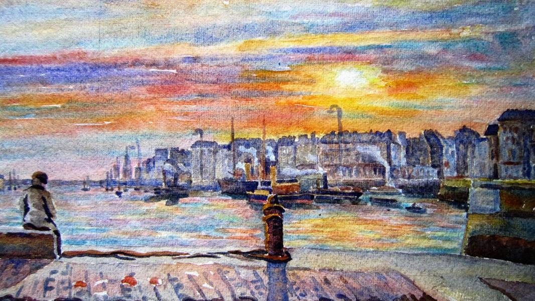 374 - Avant-port au soleil couchant